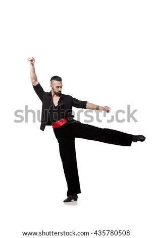 Man dancer dancing spanish dances isolated on white - stock photo