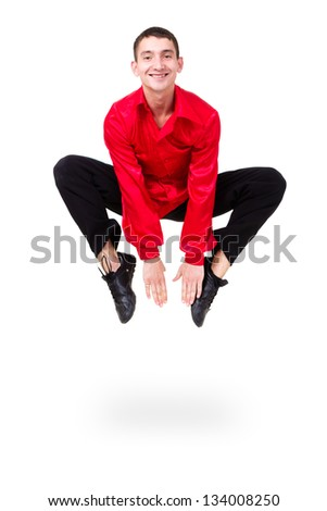 man dancer jumping isolated on a white background