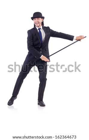 Man dancing with walking stick on white