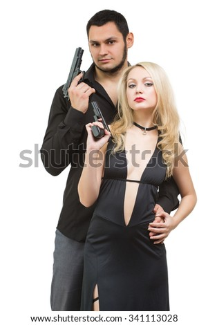 Man detective agent criminal and sexy spy woman with gun. Isolated on white background. - stock photo