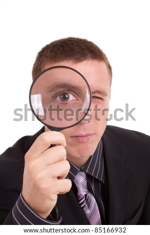 man detective looking for something