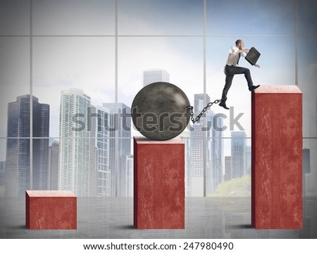 Man determined to economic growth despite difficulties - stock photo
