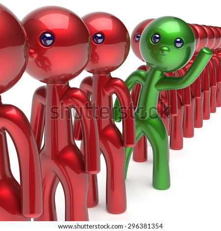 Man different people character stand out from the red crowd unique individuality green think differ person otherwise welcome to new opportunities concept human resources hr icon. 3d render isolated - stock photo