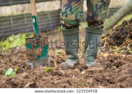 Man digging with spade in autumn or spring garden,
