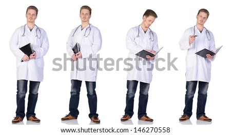 Man doctor in white suit with phonendoscope and notebook. Isolated on white background. - stock photo