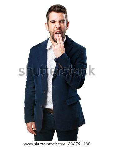 man doing a vomit gesture - stock photo