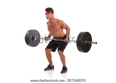 Man Doing Barbell Row. Muscular man showing a barbell row exercise. Full length studio shot isolated on white. - stock photo