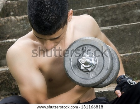 man doing exercise - stock photo