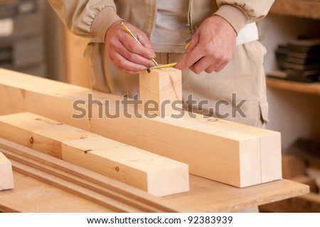 Man doing marks in the pine stick