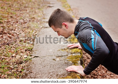 Man doing sport exercise outdoor