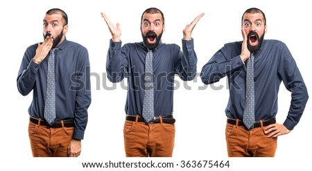 Man doing surprise gesture - stock photo