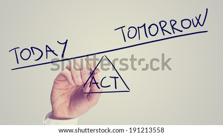 Man drawing a seesaw showing an imbalance between Acting Today or Tomorrow with the word Today being weighted more than the word Tomorrow on opposites ends with Act as the fulcrum. - stock photo