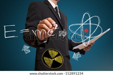 man drawing equation and scintilla concept - stock photo
