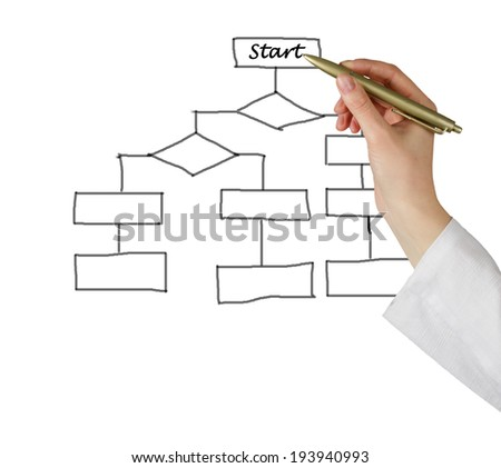 Man drawing flow diagram
