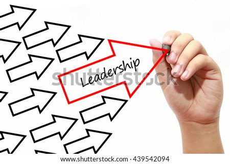 Man drawing Leadership arrows concept on virtual screen - stock photo