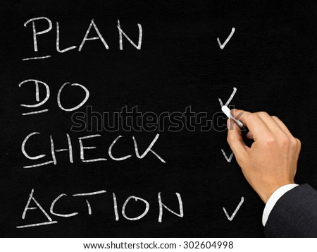 Man drawing PDCA schema with chalk on blackboard background - stock photo