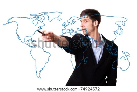 man drawing the world map in a whiteboard - stock photo