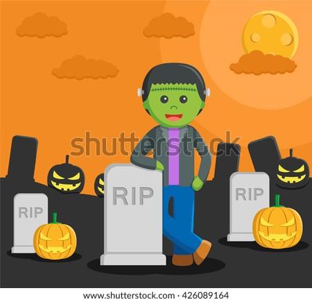 Man dressed as a frankenstein in halloween - stock photo