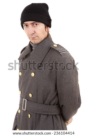 man dressed as russian military, studio picture