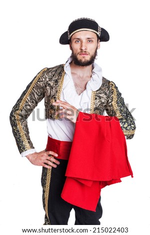 Man dressed as Spanish bull fighter. Isolated on a white background