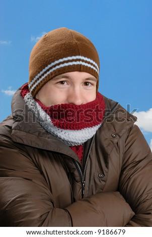 Man dressed for cold weather - stock photo
