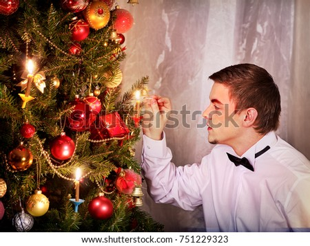 Man Dressing Christmas Tree Expectation Holiday Stock Photo ...