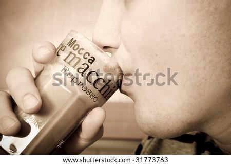 man drinking coffee - stock photo