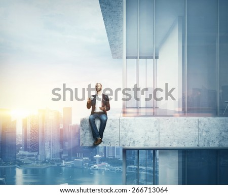 Man drinking coffee on the border of the skyscraper. 3D rendering - stock photo