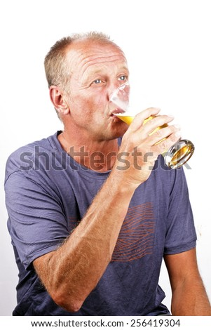 Man drinking his beer