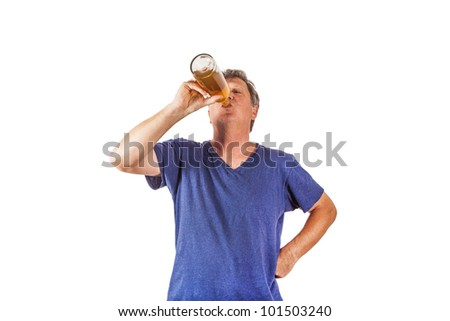 man drinking out of a glass - stock photo