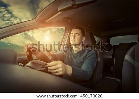 Man drive the car - stock photo