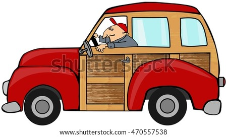 Man driving a woody station wagon