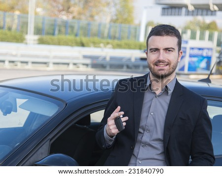 man driving car on the autoroute - stock photo