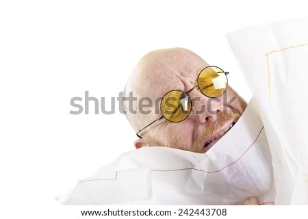 man drowning in paper - stock photo
