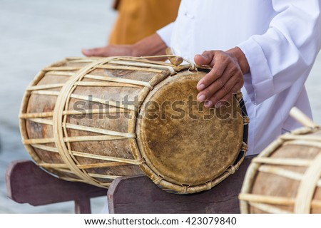 Man drumming in Indian wedding ceremonies, selective focus. - stock photo