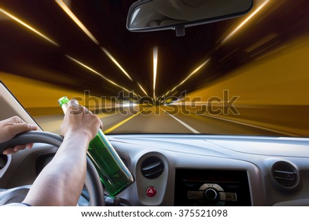 Man drunk driving speed everything is blur. - stock photo