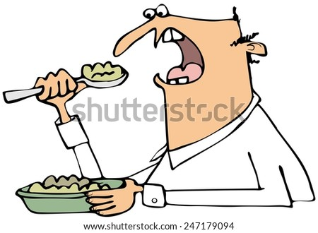 Man eating mush - stock photo