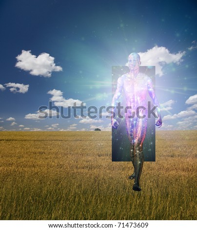 Man Emerges from doorway in landscape - stock photo