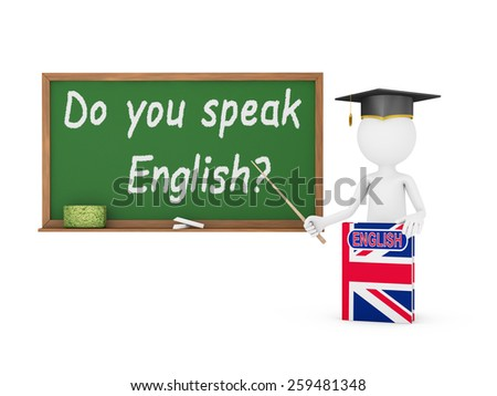 Man, English book with a flag and a chalk board on which is written -  Do you speak English? - stock photo