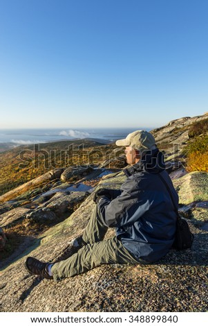 Man Enjoying View on Mountain Hike - stock photo
