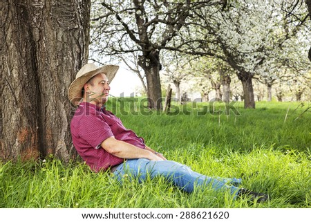 Man enjoys nature and is resting under the tree - stock photo