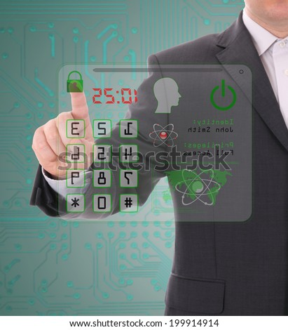 Man entering the door or safe, secure data by touch screen - stock photo