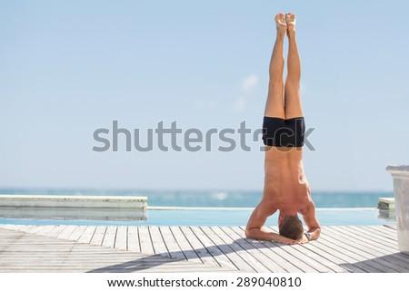 Man exercise outdoors - stock photo