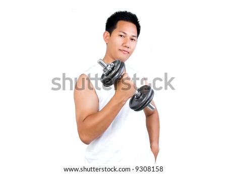 Man exercising - stock photo
