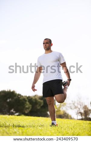 Man exercising in outdoor - stock photo