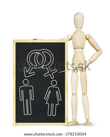 Man explains the intersex relationships. Abstract image with a wooden puppet - stock photo