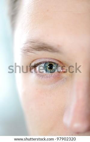 Man eye closeup - stock photo