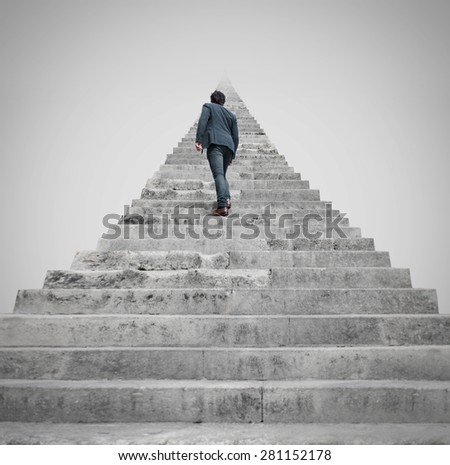 man facing to a challenge - stock photo