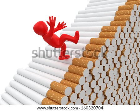 Man falls from cigarettes (clipping path included) - stock photo