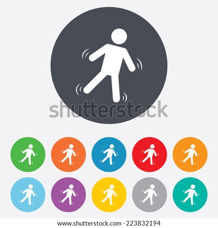 Man falls sign icon. Falling down human symbol. Caution slippery. Round colourful 11 buttons. - stock photo